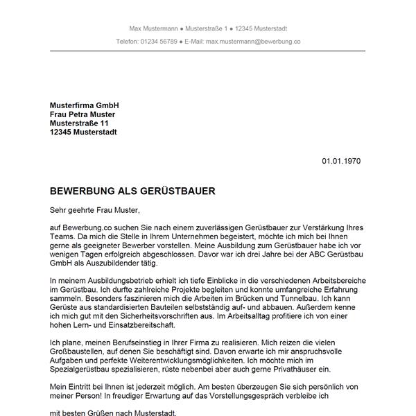 bewerbung gerüstbauer muster Bewerbung als Gerüstbauer / Gerüstbauerin   Bewerbung.co