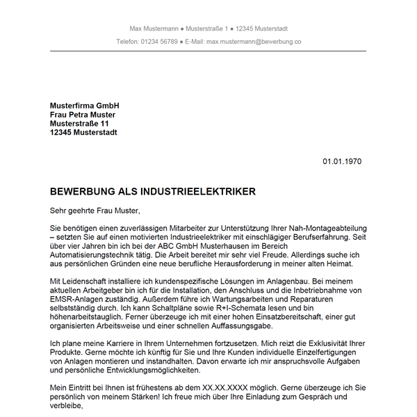 Muster / Vorlage: Bewerbung als Industrieelektriker / Industrieelektrikerin