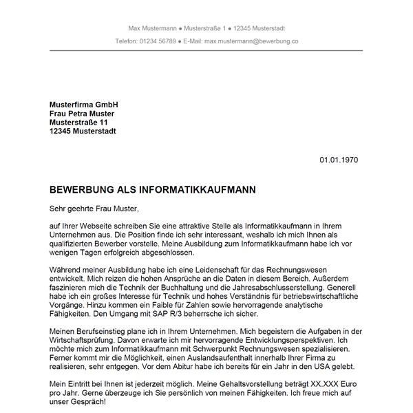 Muster / Vorlage: Bewerbung als Informatikkaufmann / Informatikkauffrau