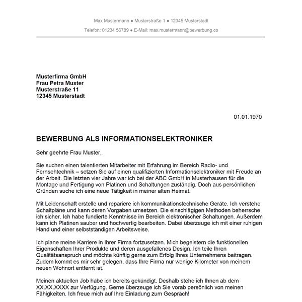 Muster / Vorlage: Bewerbung als Informationselektroniker / Informationselektronikerin