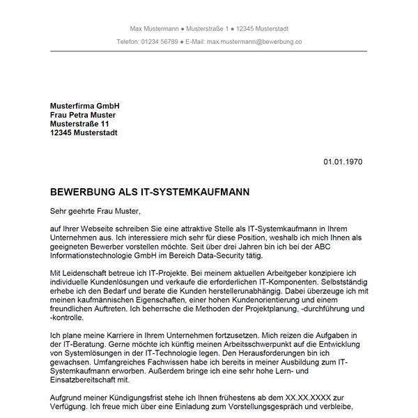 Bewerbung als IT Systemkaufmann / IT Systemkauffrau   Bewerbung.co
