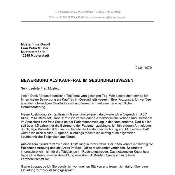 Bewerbung als Kaufmann im Gesundheitswesen / Kauffrau im ...