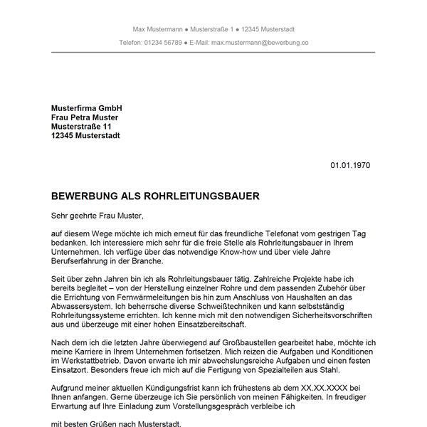 Muster / Vorlage: Bewerbung als Rohrleitungsbauer / Rohrleitungsbauerin