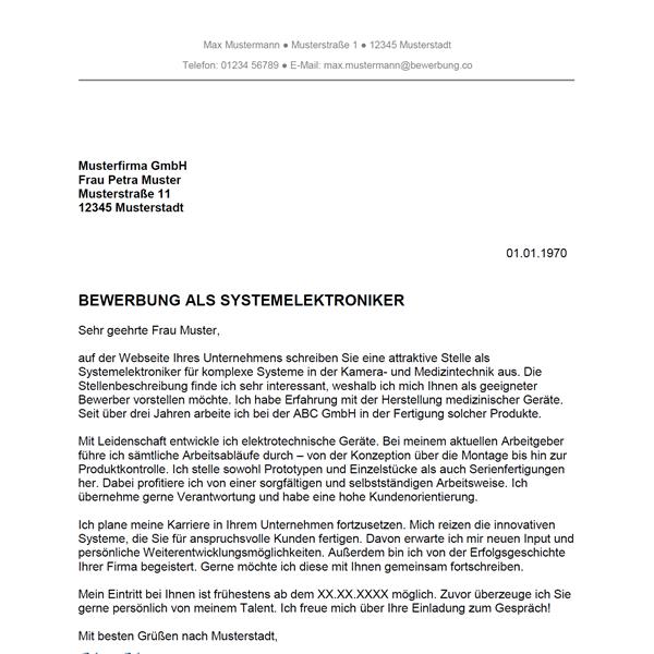 Muster / Vorlage: Bewerbung als Systemelektroniker / Systemelektronikerin