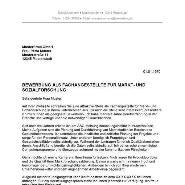 Muster / Vorlage: Bewerbung als Fachangestellter für Markt- und Sozialforschung / Fachangestellte für Markt- und Sozialforschung