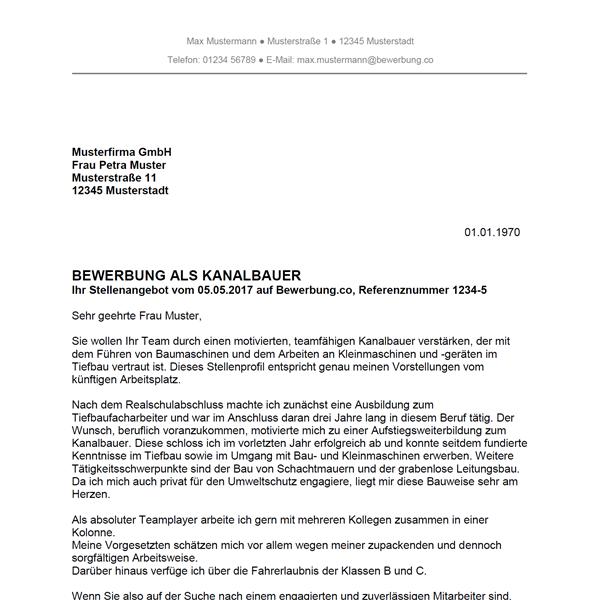Muster / Vorlage: Bewerbung als Kanalbauer / Kanalbauerin