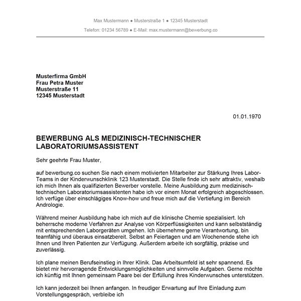 Muster / Vorlage: Bewerbung als Medizinisch-technischer Laboratoriumsassistent / Medizinisch-technische Laboratoriumsassistentin