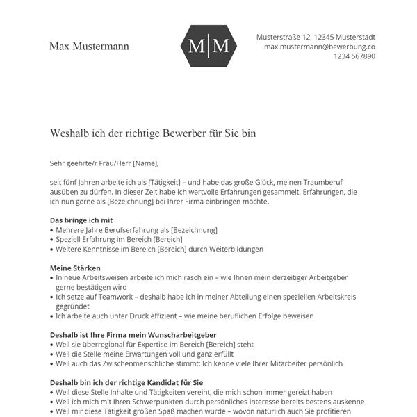 Muster / Vorlage: Motivationsschreiben Bewerbung