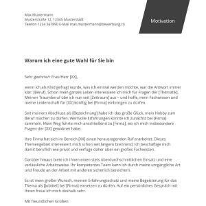 Motivationsschreiben: Kostenlose Muster & Vorlagen   Bewerbung.co