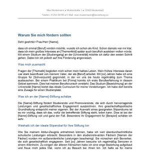 Vorlage / Muster: Motivationsschreiben Stipendium / Studium