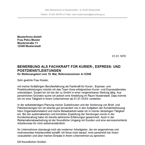 Muster / Vorlage: Bewerbung als Fachkraft für Kurier-, Express- und Postdienstleistungen