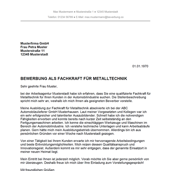 Muster / Vorlage: Bewerbung als Fachkraft für Metalltechnik