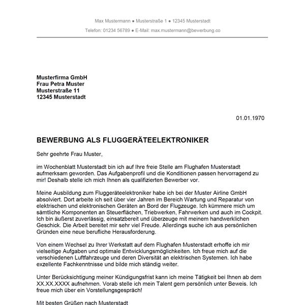 Muster / Vorlage: Bewerbung als Fluggerätelektroniker / Fluggerätelektronikerin