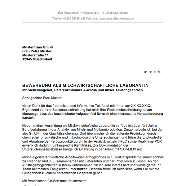 Muster / Vorlage: Bewerbung als Milchwirtschaftlicher Laborant / Milchwirtschaftliche Laborantin