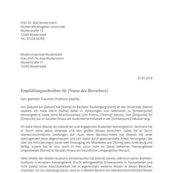 Empfehlungsschreiben - Kostenlose Muster & Vorlagen - Bewerbung.co