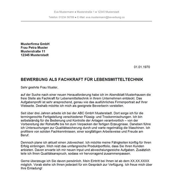 Muster / Vorlage: Bewerbung als Fachkraft für Lebensmitteltechnik