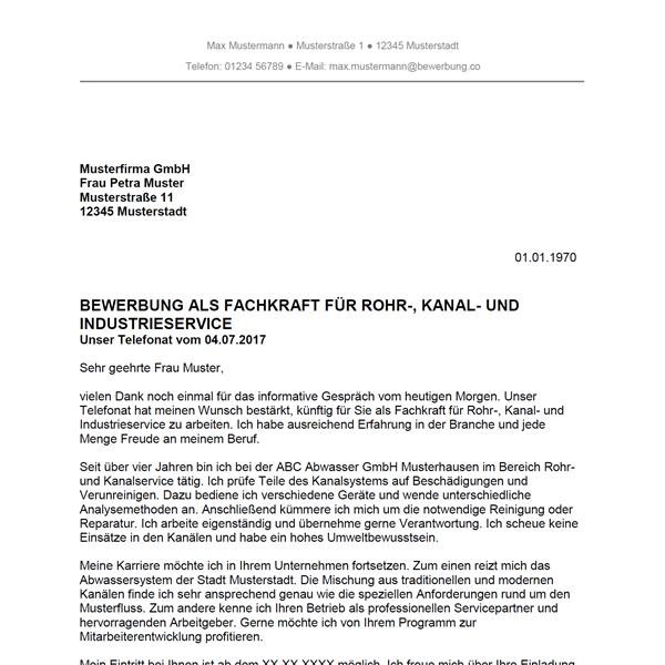 Muster / Vorlage: Bewerbung als Fachkraft für Rohr-, Kanal- und Industrieservice