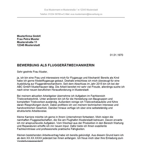 Muster / Vorlage: Bewerbung als Fluggerätmechaniker / Fluggerätmechanikerin