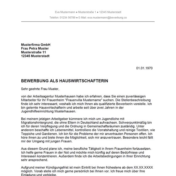 Bewerbung als Hauswirtschafter / Hauswirtschafterin - Bewerbung.co