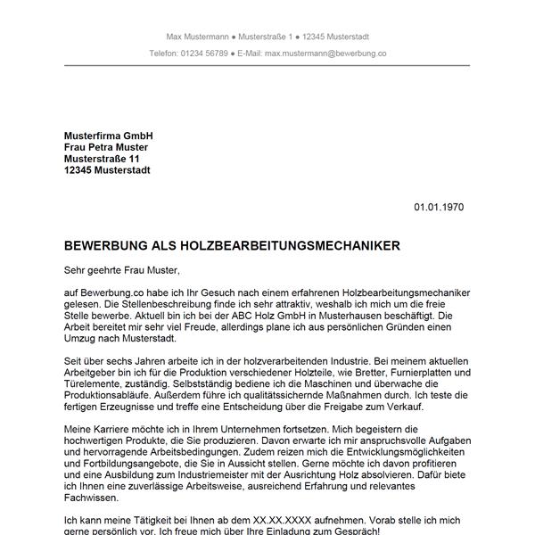 Muster / Vorlage: Bewerbung als Holzbearbeitungsmechaniker / Holzbearbeitungsmechanikerin