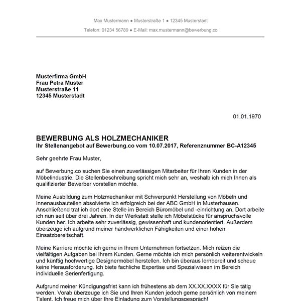 muster vorlage bewerbung als holzmechaniker holzmechanikerin - Aufhebungsvertrag Auf Wunsch Des Arbeitnehmers Muster