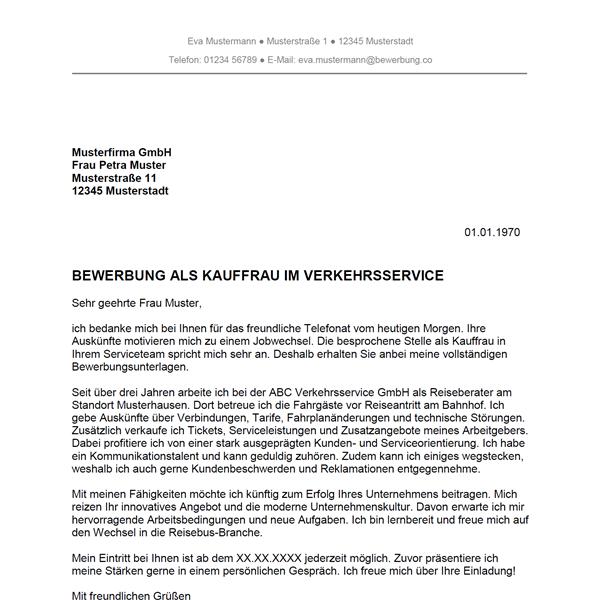 Muster / Vorlage: Bewerbung als Kaufmann im Verkehrsservice / Kauffrau im Verkehrsservice