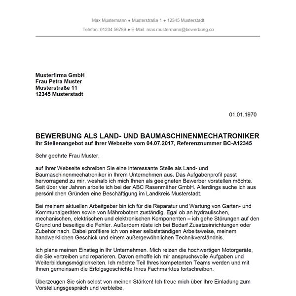 Muster / Vorlage: Bewerbung als Land- und Baumaschinenmechatroniker / Land- und Baumaschinenmechatronikerin