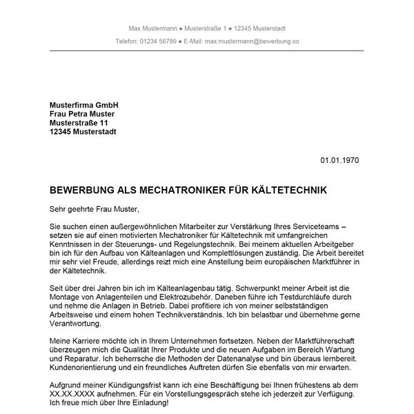 bewerbung als mechaniker muster Bewerbung als Mechatroniker für Kältetechnik / Mechatronikerin für