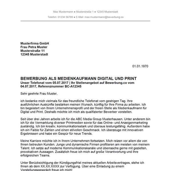 Muster / Vorlage: Bewerbung als Medienkaufmann für Digital und Print / Medienkauffrau für Digital und Print