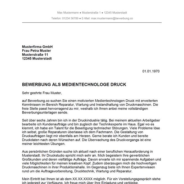 Muster / Vorlage: Bewerbung als Medientechnologe Druck / Medientechnologin Druck