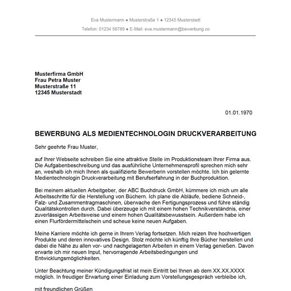 Muster / Vorlage: Bewerbung als Medientechnologe Druckverarbeitung / Medientechnologin Druckverarbeitung