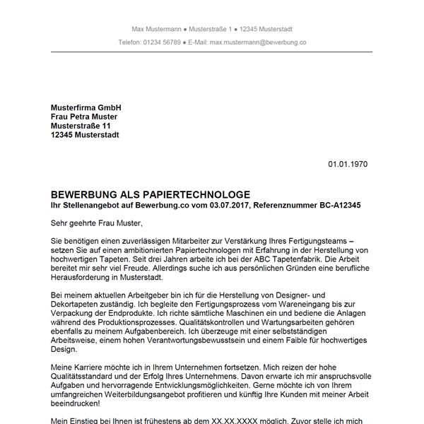 Muster / Vorlage: Bewerbung als Papiertechnologe / Papiertechnologin