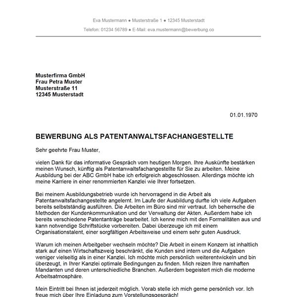 Bewerbung Als Patentanwaltsfachangestellter