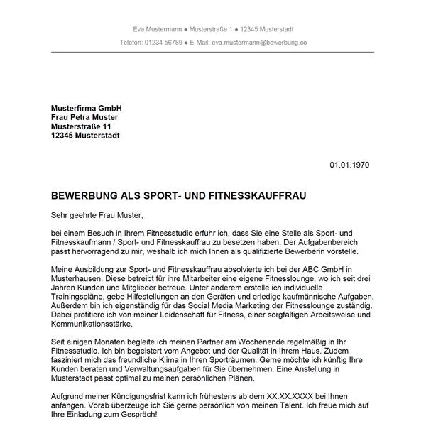bewerbung fitnesskaufmann muster Bewerbung als Sport  und Fitnesskaufmann / Sport  und