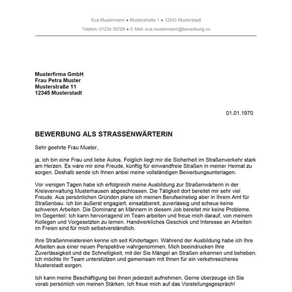 Bewerbung als Straßenwärter / Straßenwärterin - Bewerbung.co