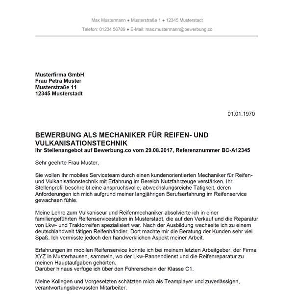 Muster / Vorlage: Bewerbung als Mechaniker für Reifen- und Vulkanisationstechnik / Mechanikerin für Reifen- und Vulkanisationstechnik