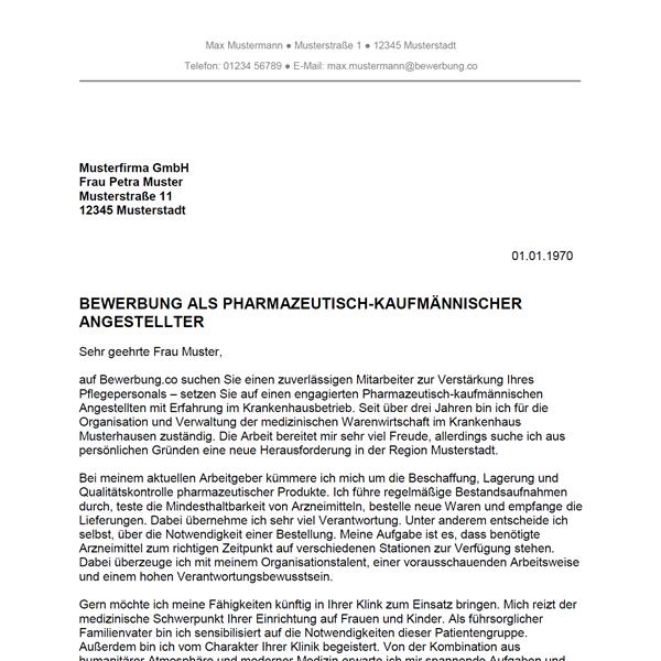 muster vorlage bewerbung als pharmazeutisch kaufmnnischer angestellter pharmazeutisch kaufmnnische angestellte - Bewerbung Kaufmannische Angestellte