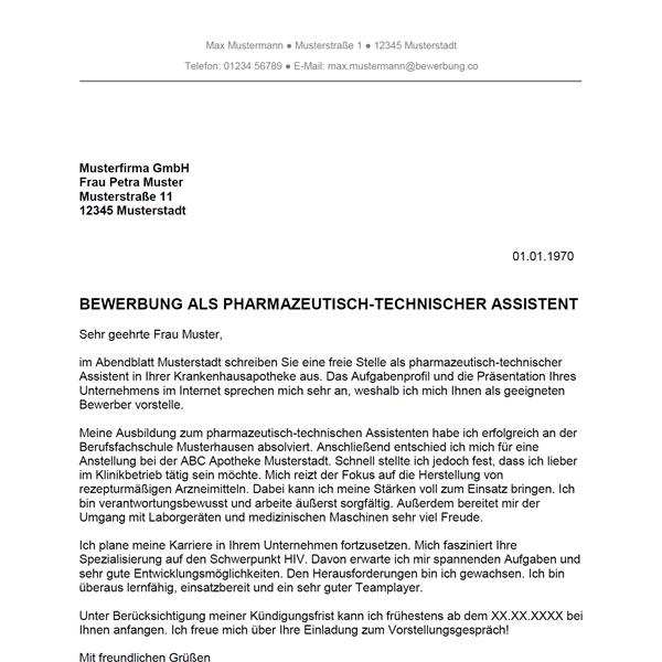 Muster / Vorlage: Bewerbung als Pharmazeutisch-technischer Assistent / Pharmazeutisch-technische Assistentin