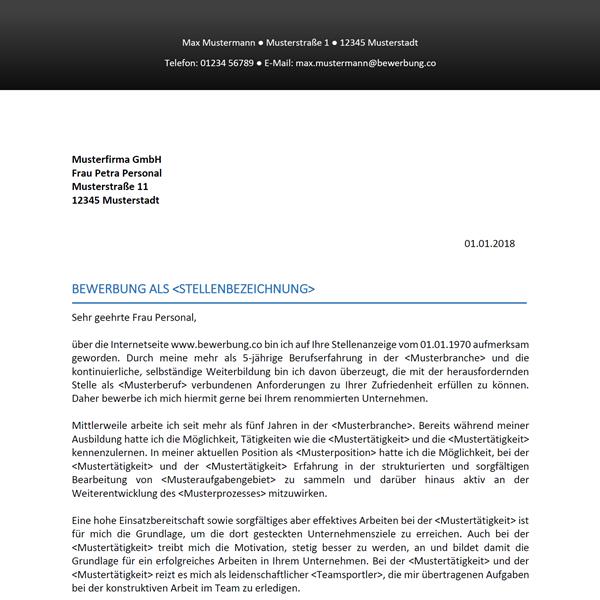 Muster / Vorlage: Bewerbungsschreiben-Vorlage 34
