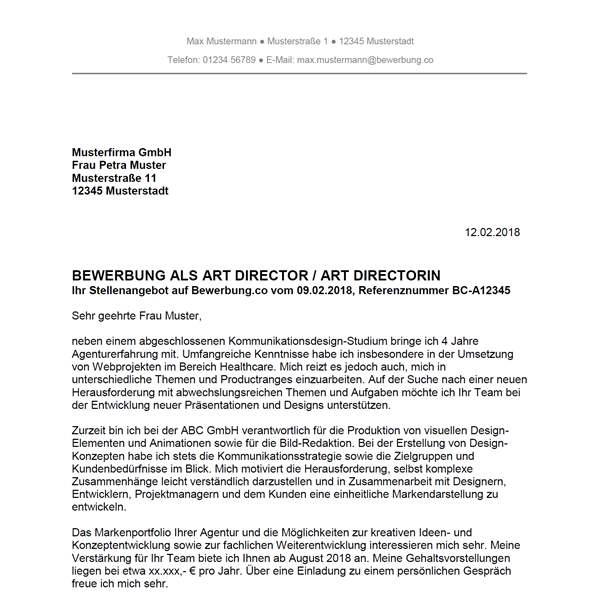 Muster / Vorlage: Bewerbung als Art Director / Art Directorin