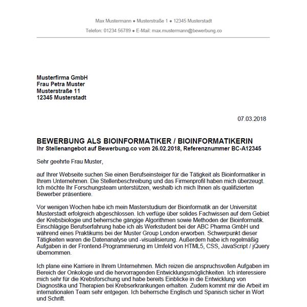 Muster / Vorlage: Bewerbung als Bioinformatiker / Bioinformatikerin