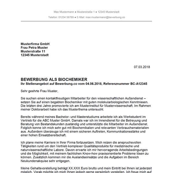 Muster / Vorlage: Bewerbung als Biochemiker / Biochemikerin