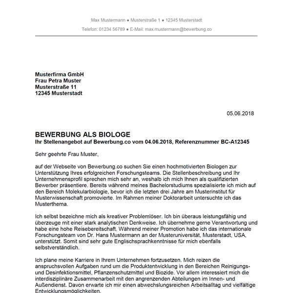 muster vorlage bewerbung als biologe biologin - Bewerbung Auendienst