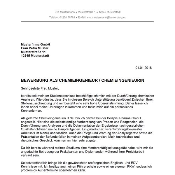 Bewerbung als Chemieingenieur / Chemieingenieurin - Bewerbung.co