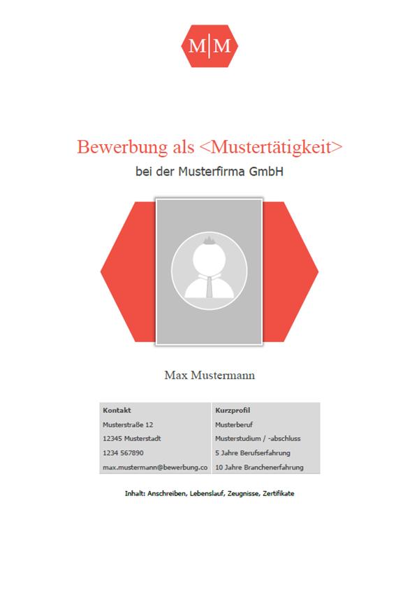 Vorlage / Muster: Deckblatt Bewerbung 2018