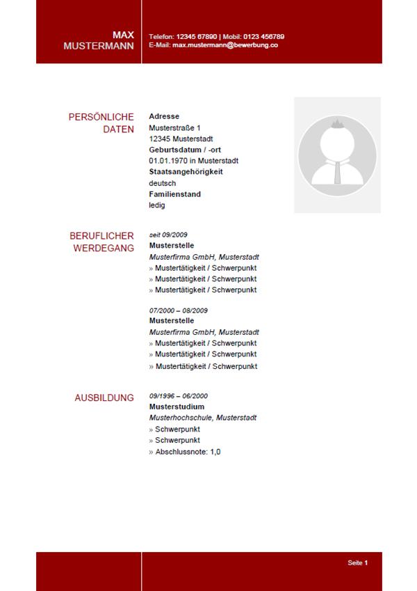 Vorlage / Muster: Lebenslauf 32