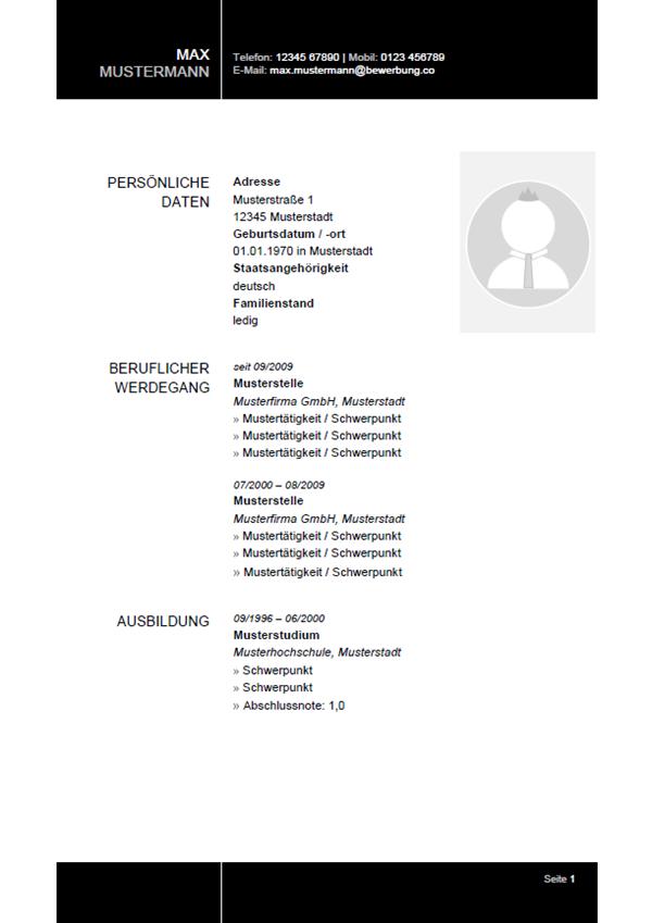 Vorlage / Muster: Lebenslauf 33