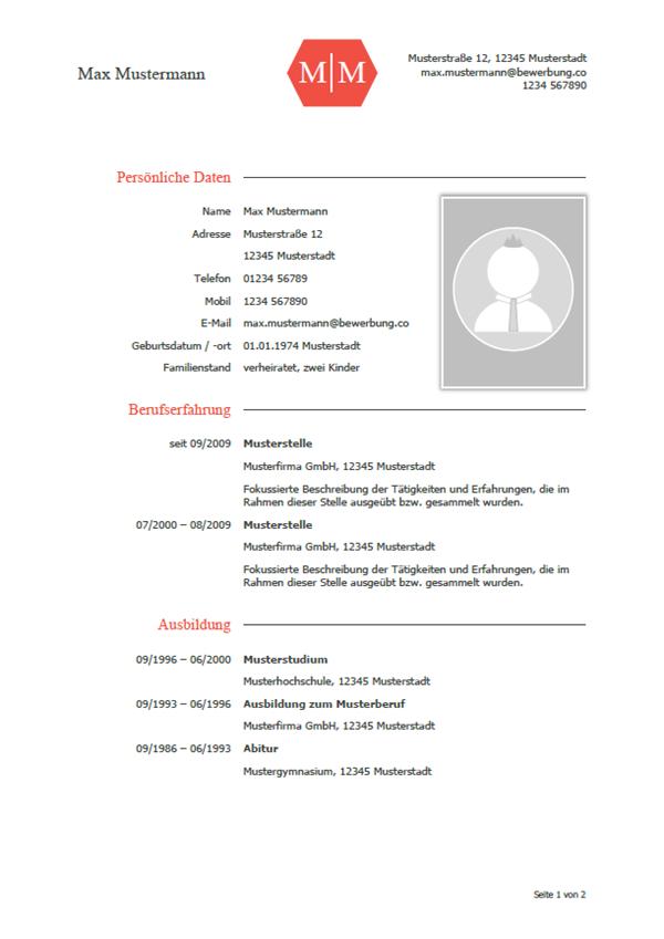 Lebenslauf Muster Vorlagen Für Die Bewerbung 2019