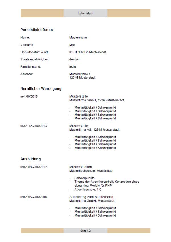 vorlage muster tabellarischer lebenslauf vorlage - Lebenslauf Vorlage 2013