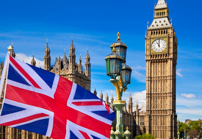 Bild von London mit britischer Flagge, Unternehmen von dort fordern oft einen Curriculum Vitae